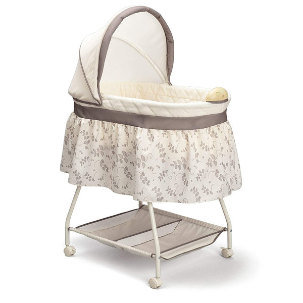 Deluxe Sweet Beginnings Bedside Bassinet - Portable Crib with Lights and Sounds, Falling Leaves