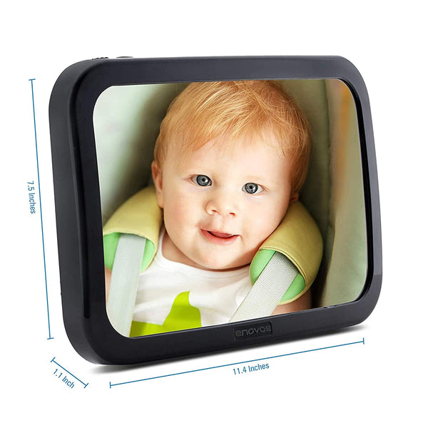 Baby Car Mirror with Bonus Cleaning Cloth - Wide, Convex Back Seat Baby Mirror for Car is Shatterproof and Adjustable - 360 Swivel Rear Facing Car Seat Mirror Helps Keep an Eye on Your Infant