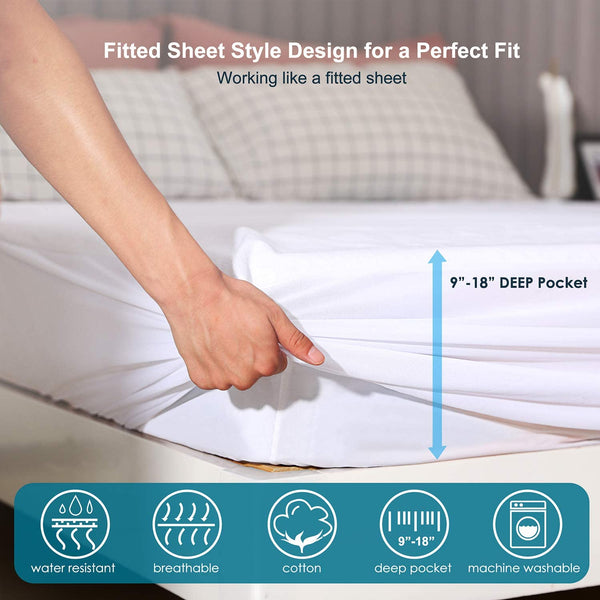 King Size Premium Waterproof Mattress Protector,Bed Cover Pad - Smooth - Breathable - Soften