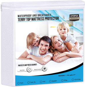 Waterproof Mattress Protector - Breathable Mattress Cover - Fitted Style All Around Elastic (King)