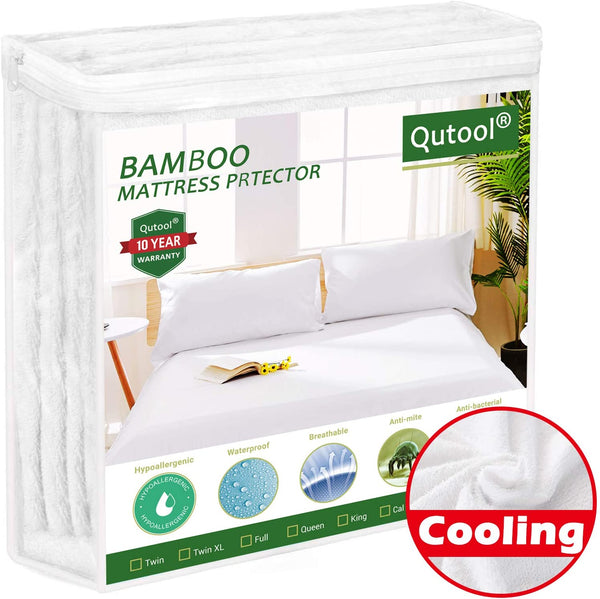 "Queen Size Cooling Waterproof Mattress Protector Bamboo Mattress Protector - Hypoallergenic Mattress Pad Cover Fitted 8""-21"" Deep Pocket - Against Bed Bug Proof Breathable, Noiseless, Vinyl Free"