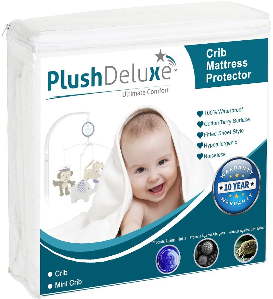 Mini Crib Size Premium Waterproof Mattress Protector Hypoallergenic Breathable Soft Cotton Terry Surface