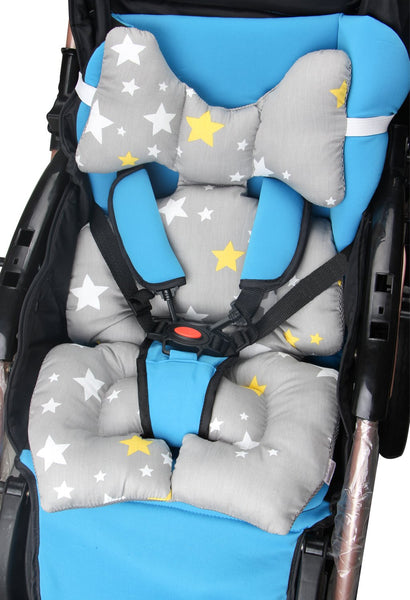 Infant Car Seat Insert, KAKIBLIN Cotton Baby Stroller Liner Head and Body Support Pillowoddler, Star