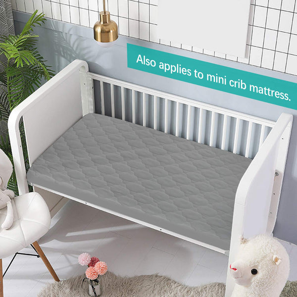 "Pack n Play Mattress Protector Waterproof, Premium Quilted Playard Sheet Cover 39"" X 27"" fits for Baby Foldable and Playard Mattress, Portable Mini Crib, Gray"