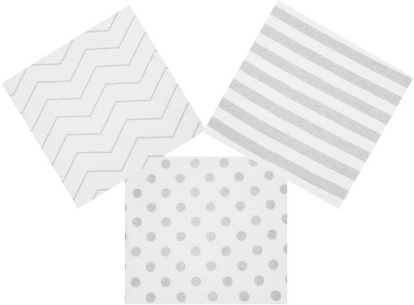 Bassinet Fitted Sheet Set 3 Pack 100% Jersey Gray Cotton for Baby Girl/Boy - Grey Chevron, Polka Dot and Stripe 160 GSM Sheets