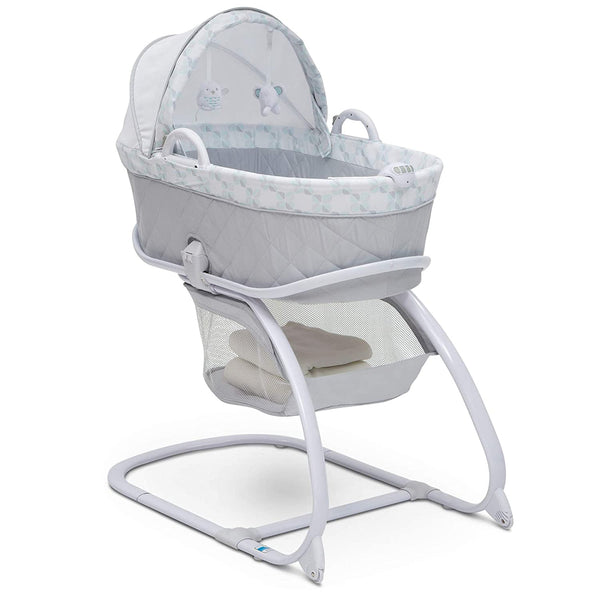 Deluxe 2-in-1 Moses Bedside Bassinet Portable Crib, Elephant Dreams