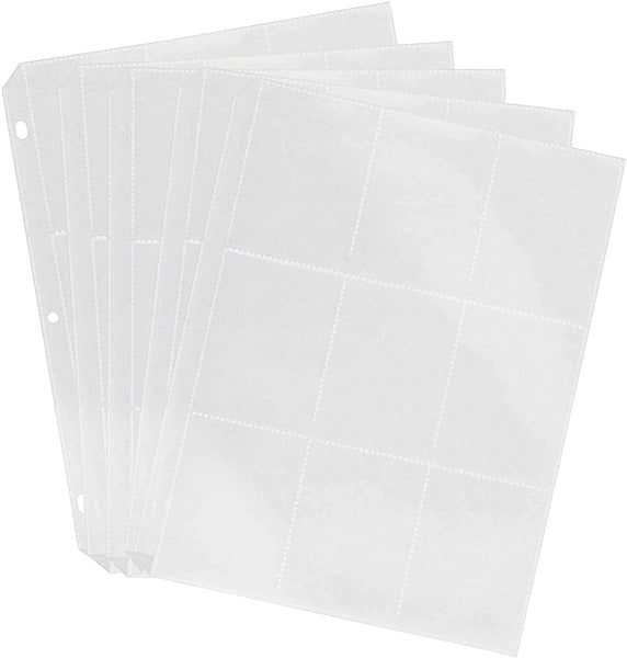 Trading Card Protector Sheets 9 Pocket X 50 Plastic Pages Holds 450 Cards - 3 Ring Binder