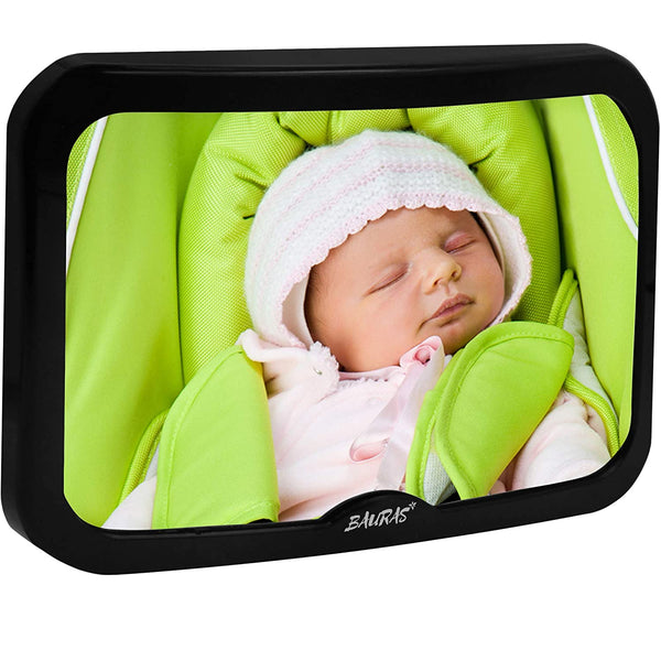 Baby Mirror for Car – Largest Backseat Mirror for Rear Facing Infant - Most Stable Shatterproof Newborn Accessories for Back Seat - Wide Crystal Clear View - Premium Quality - Safe Secure Crash Tested