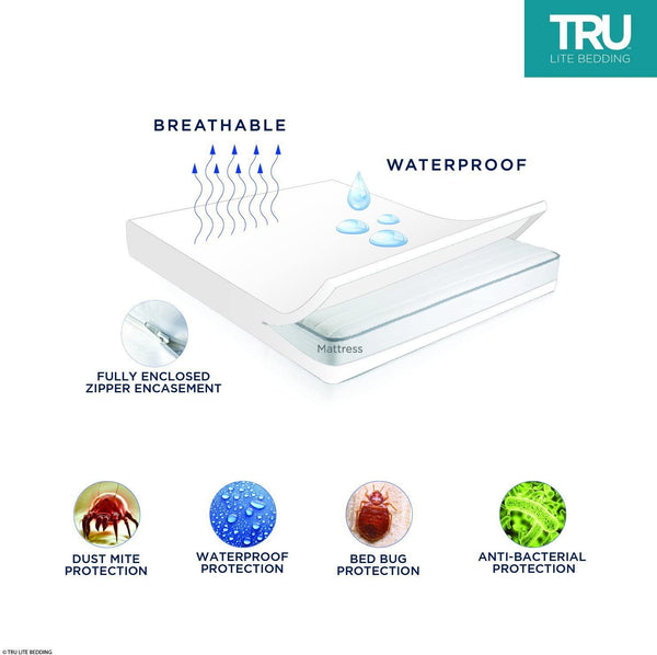 Bedding Bed Bug Mattress Cover - 100% Waterproof Mattress Protector - Hypoallergenic & Breathable - Dust Mite, Bed Bug, Allergy Zippered Mattress Encasement - Vinyl Free - Standard Full