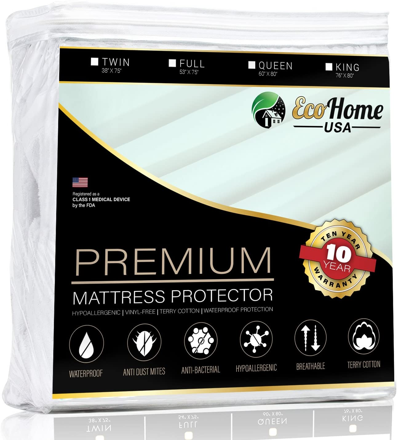 Premium Mattress Pad Protector - Waterproof & Hypoallergenic Cover - Vinyl Free, Terry Cotton Topper (King)