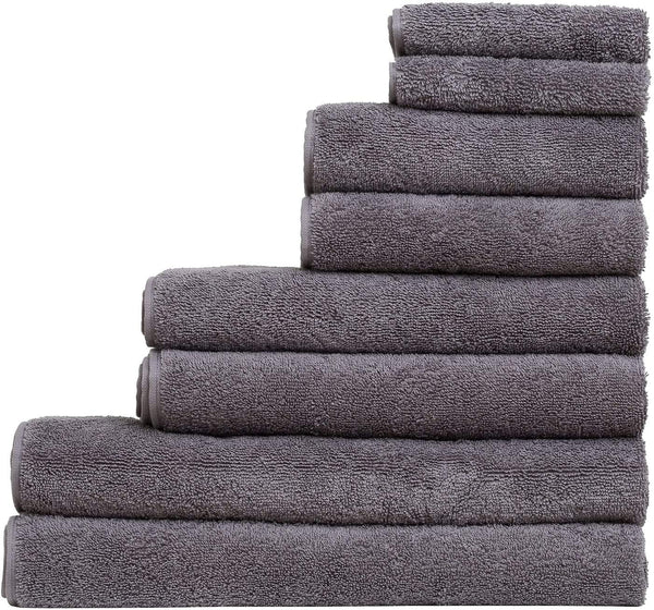 8-Piece Turkish Towel Set with 4 Bath Towels (30x60 and 24X48) - Grey