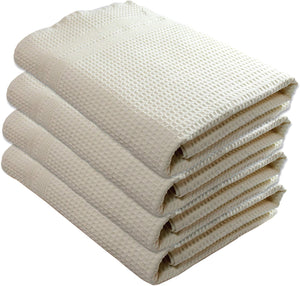 Premium Bath Towels 4 Pc Set 100% Natural Cotton Quick Dry Waffle Weave Lint Free Soft Luxurious Fabric Solid Colors Oversized Thin Cloth Fade Resistant (Cream)