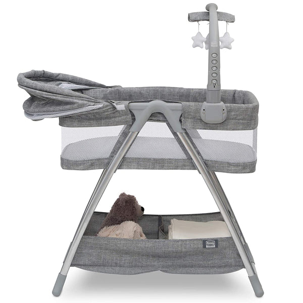 Simmons Kids City Sleeper Bedside Bassinet Portable Crib - Activity Mobile Arm with Nightlight, Vibrations