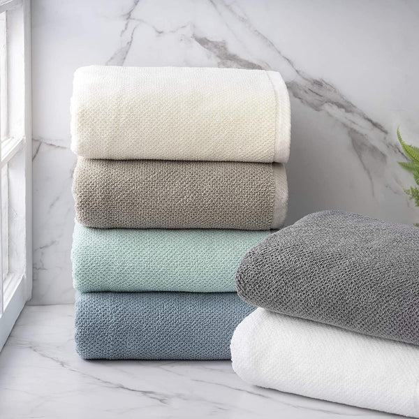 Cotton 100% Textured Towel (Dusty Blue) - Set of 2 - Highly Absorbent - Combed Cotton - Durable - Low Lint - 600 GSM - Machine Washable - 2 Bath Sheet