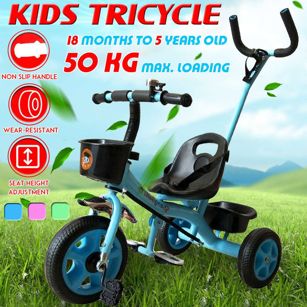 Kids Trike Baby Tricycle Stroller Toddler Bike With Push Handle Children Boy Girl Toy 18 Months To 5 Years Old