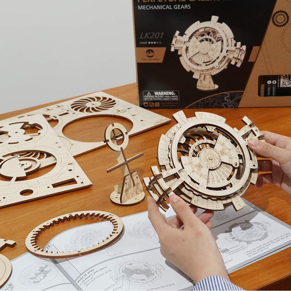 Robotime Creative DIY Perpetual Calendar Wooden Model Building Kits Assembly Toy Gift for Children Adult Dropshipping  LK201