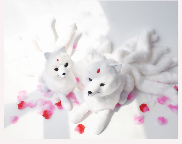 Super Cute Soft White Red Nine Tails Fox Plush Toy Stuffed Animals Nine-Tailed Fox Kyuubi Kitsune Dolls Creative Gifts for Girls