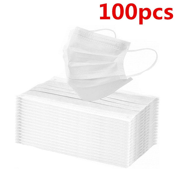 In Stock! 100 Pcs Disposable Mondmasker Earloop Face Mouth Masks Mouth Mask Non-woven Melt Blown 3-layer Mascarilla mascarilas