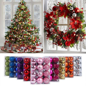 24Pcs 3cm Christmas Balls Glitter Christmas Tree Ornaments Hanging Christmas Decorations for Home Palline Natale Decor Xmas