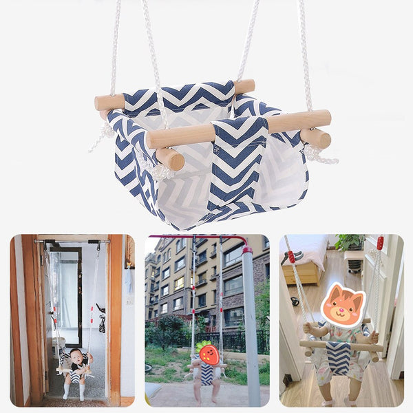 Canvas Baby Swing Chair Hanging Wood Children Kindergarten Toy Outside Indoor Small Basket Swinging Rocking Chair Baby Toy