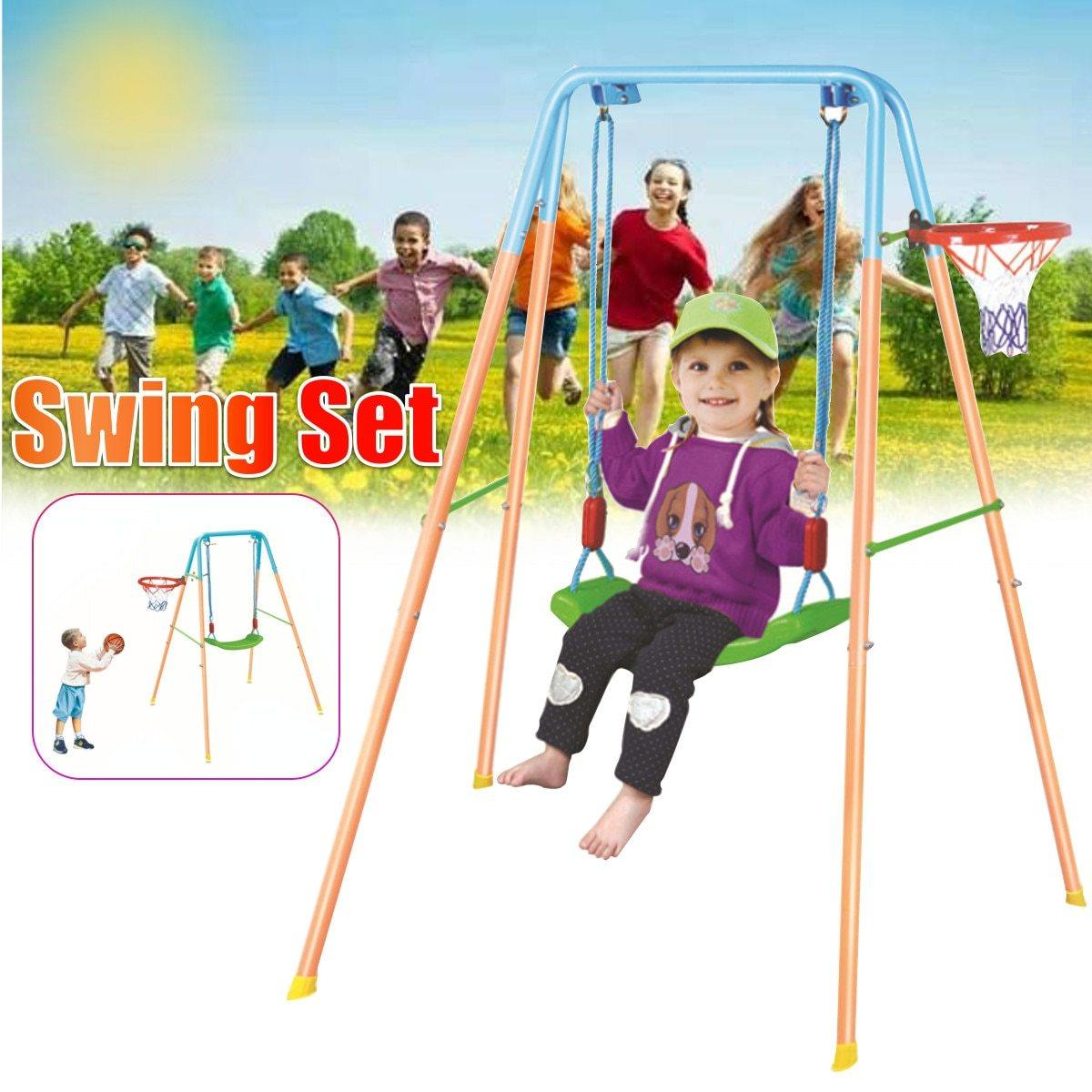 US Fast-shipping 2 IN 1 Home Swing Child Playground Outdoor Baby Swing with Rocking Seat Chair and Basket Kids Game Toys