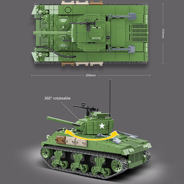 Military Sherman M4A1 Tank WW2 Building Blocks City Police Soldier Technic Tank Bricks Boys children kids Toys Gifts