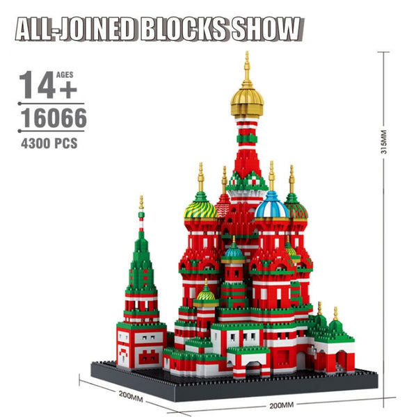 Mini Diamond Building Blocks Architecture Bricks Toy Saint Basil's Cathedral Taj Mahal Children Compatible City Gifts