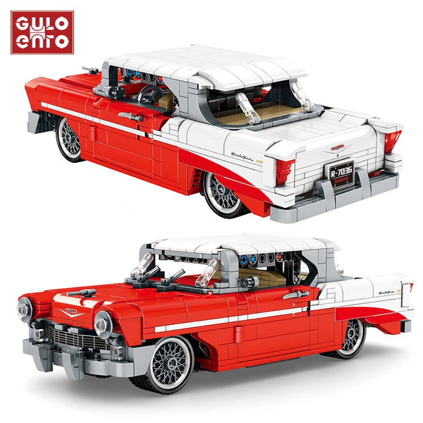 814Pcs Technic Classic Red Vintage Vehicle Building Blocks City Pull Back Car Creator Ideas Bricks Children Toys Birthday Gifts