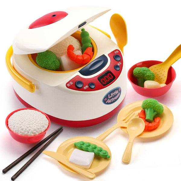 Kids Kitchen Toys Simulation Electric Rice Cooker Interactive Toy Mini Kitchen Food Pretend Play House Role Playing Girls Toys
