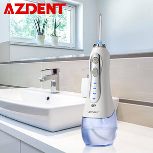 AZDENT 3 Modes Cordless Oral Irrigator Portable Water Dental Flosser USB Rechargeable Water Jet Floss Tooth Pick 5 Jet Tip 300ml
