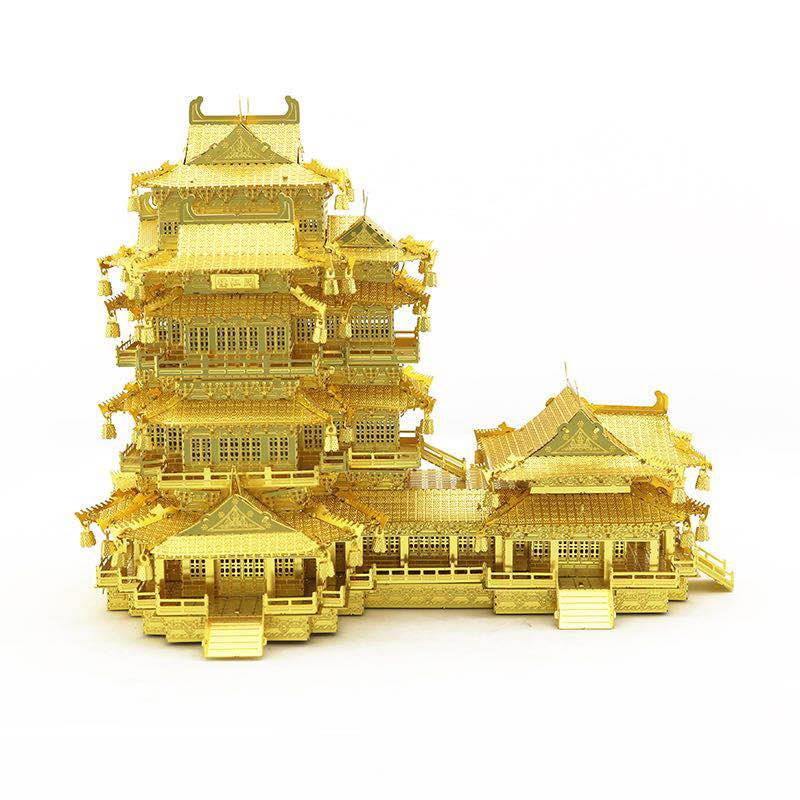 Metal Ocean Ancient Chinese Architecture 3D metal puzzle YueJiang Tower Diy Laser Cutting Assemble Model Jigsaw Toys for adult