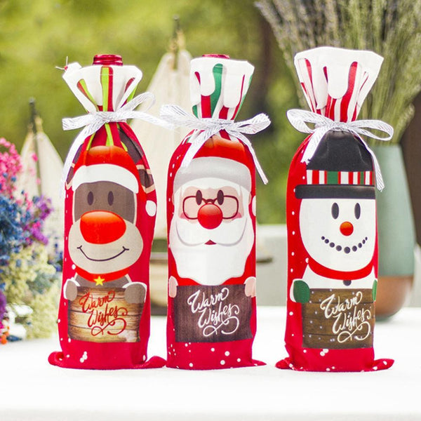 FENGRISE Santa Claus Wine Bottle Cover Christmas Decorations For Home 2020 Christmas Stocking Gift Navidad New Year's Decor 2021