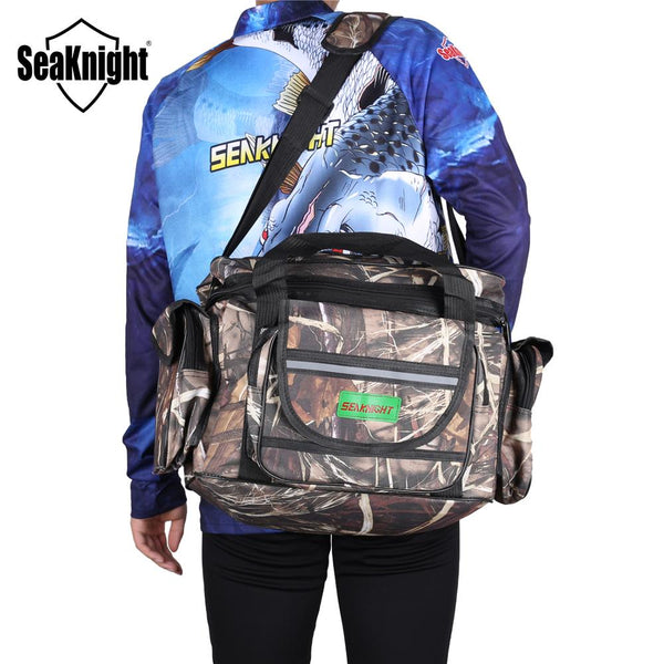 SeaKnight SK003 Waterproof Fishing Bag Large Capacity Multifunctional Lure Fishing Tackle Pack Outdoor Shoulder Bags 50*27*28cm