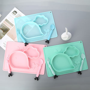 Baby Cute Whale Silicone Bowl Set Kids Sucker Plate with Spoon/fork Non-slip Food Grade Baby Training Bowl