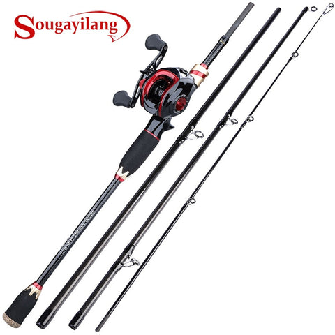 Sougayilang 1.8m 2.1m Casting Fishing Combo  4 Sections Carbon Fiber Fishing Rod and 17 1BB Baitcasting Reel Set Tackle Pesca