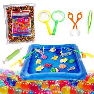 1 set Kids Water Beads Toy Portable Inflatable Pool With Fishing Set Non-Toxic Kids Shower Toys Floating Fish&Water Beads Games