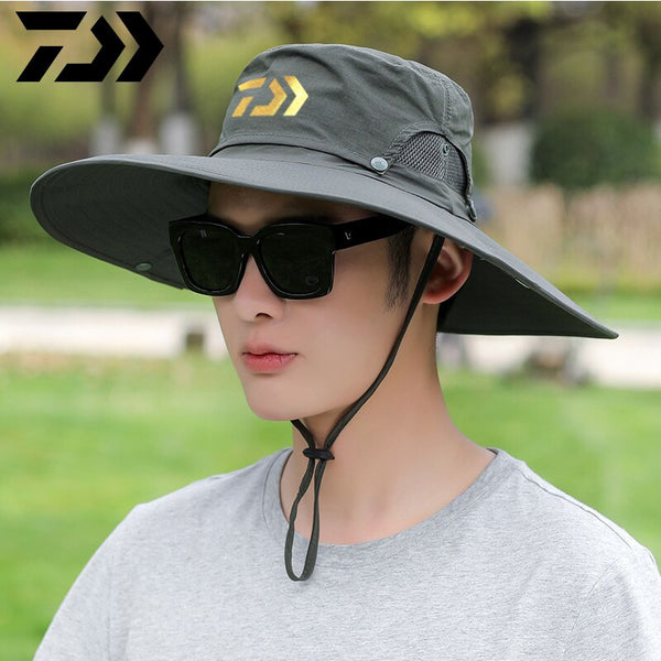 Daiwa Men's Summer Fishing Mountaineering Outdoor Sports Hat Sunscreen Neck Protection Breathable Waterproof Windproof Sun Hat