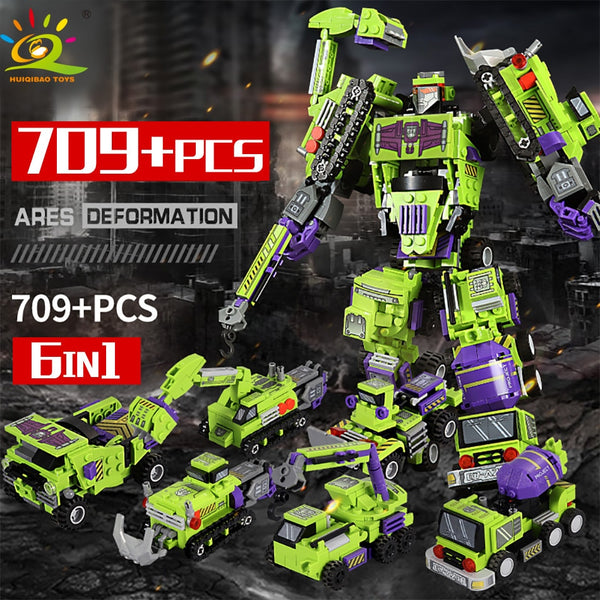 709pcs 6in1 Transformation Robot Building Block City Engineering Excavator car truck constructor Bricks toy For Children