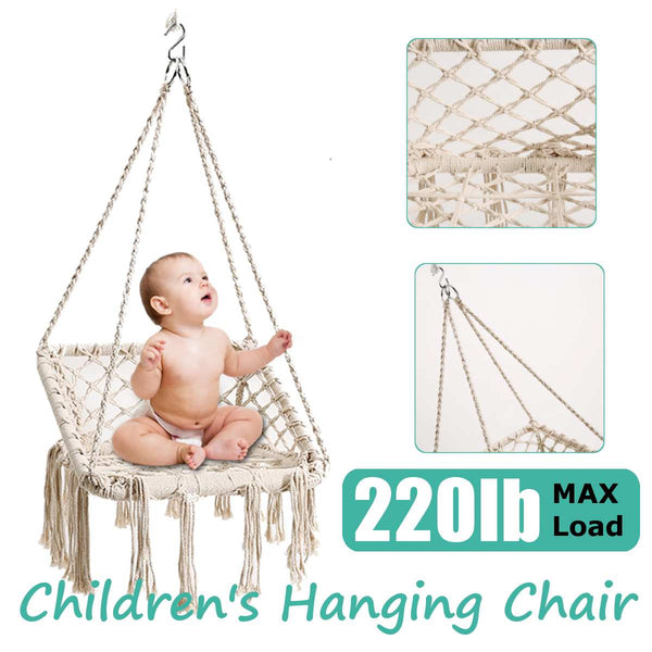 220 LBS Children's Hammock Garden Hang Lazy Chair Swinging Indoor Outdoor Hanging Rope Chair Kids Swing Chair Seat Travel