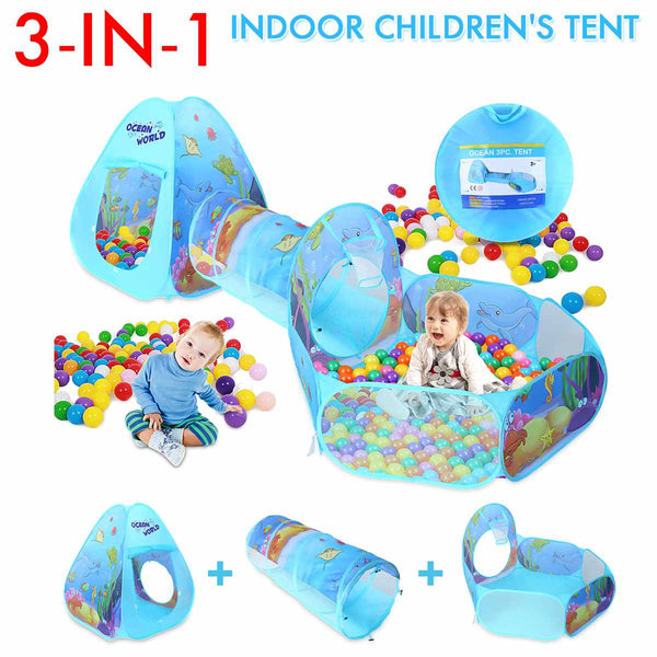 3 In 1 Play Tent Baby Toys Ball Pool for Children Kids Ocean Balls Pool Foldable Kids Play Tent Playpen Tunnel Play House