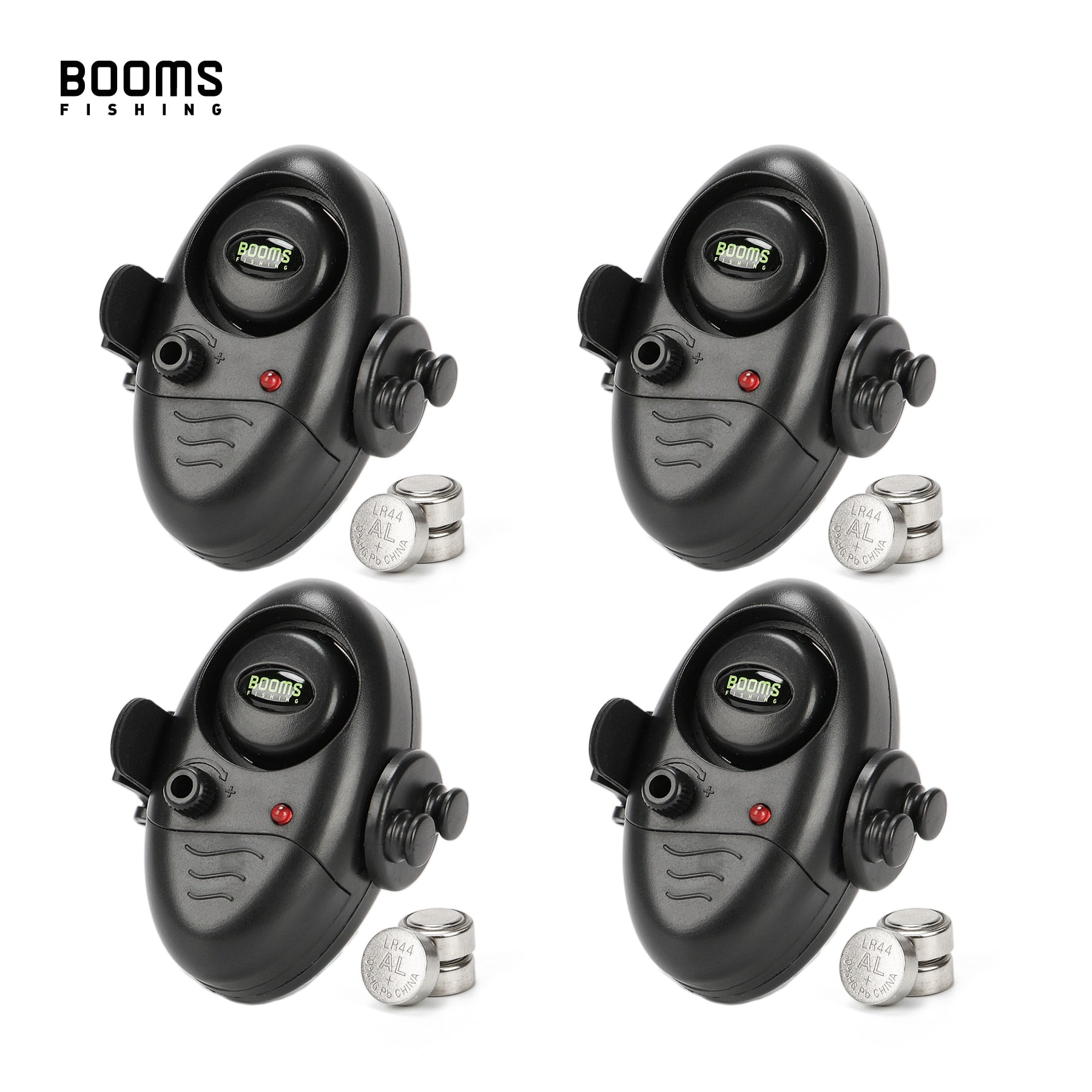 Booms Fishing E02 Bite Alarm Fishing Signalizator Carp Fish Indicator with LED / Sounds Battery Include 4 sets