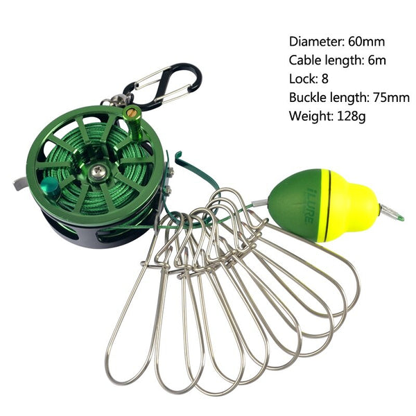 Fishing Lock Buckle With Reel Stainless Steel Lanyard Live Fish Lock Belt Fishing Tackle Stringer Fishing Floats Reel New