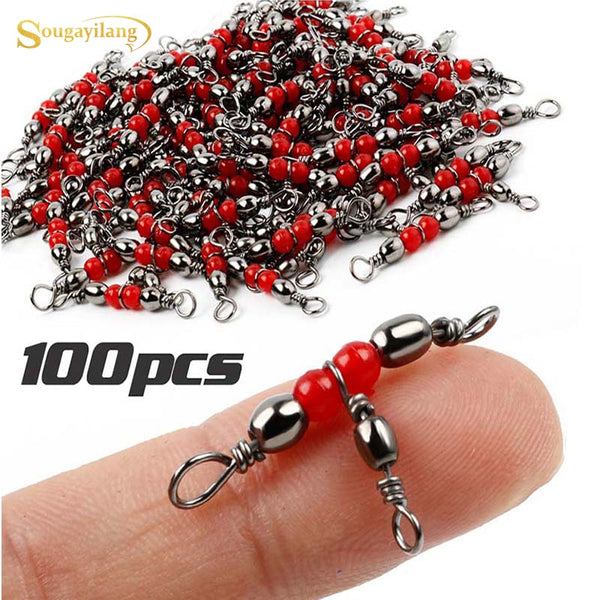 Sougayilang High Quality 100pcs Fishing Tackle 3-way Fishing Swivel Tangle Fishing Swivel Rolling  Brass Barrel Accessories