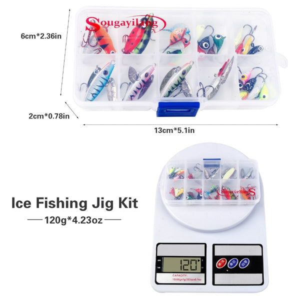Sougayilang 27Pcs Top Quality Ice Fishing Hooks ComboCrank Barbed Fishhook with Box Set Steel Different Hook Fishing Accessorie