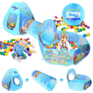 3 In 1 Play Tent Baby Toys Ball Pool for Children Kids Ocean Balls Pool Foldable Kids Play Tent Playpen Tunnel Play House (Blue)