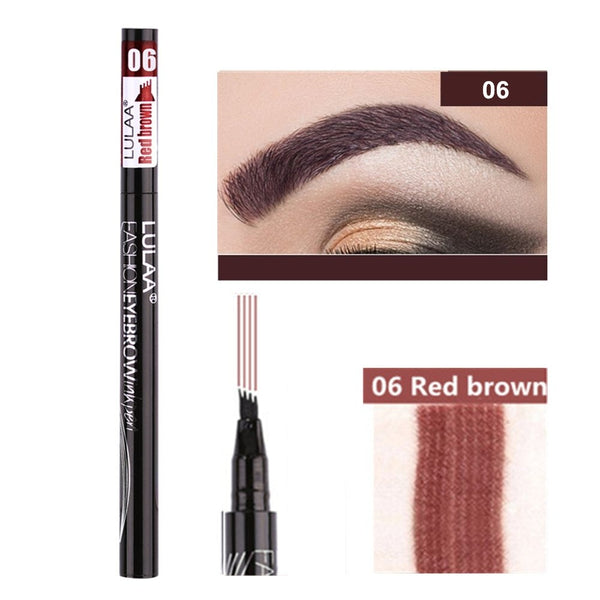 5 Colors Eyebrow Pen Waterproof 4 Fork Tip Eyebrow Tattoo Pencil Cosmetic Long Lasting Natural Dark Brown Liquid Eye Brow Pencil