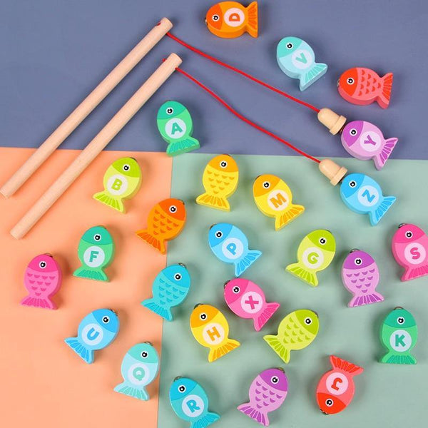 2020 New Baby Wooden Toys Digit Alphabet Magnetic Fishing Toys Game Puzzle Toys Early Educational Toys for Children Girl Gifts