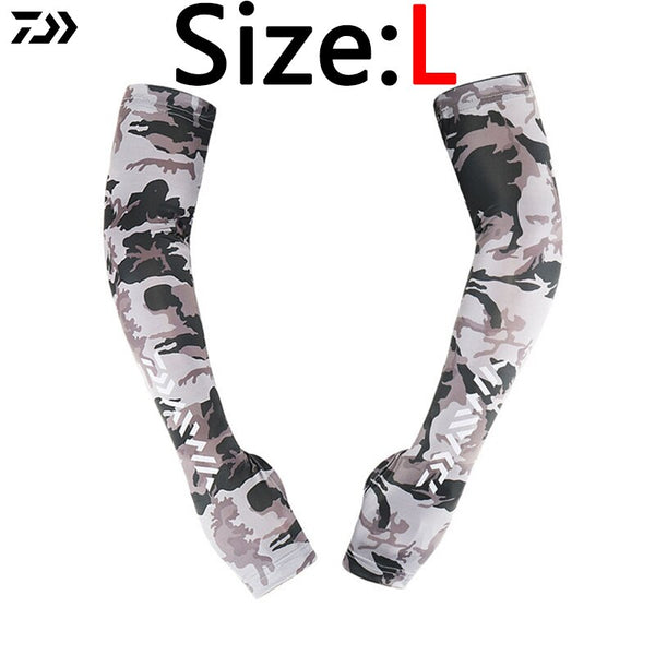 Arm Sleeve L XL 1 Pair/Set Ice Fishing Clothing Men Camouflage Arm Sleeve Long Anti UV Outdoor Fingerless Fishing Clothes