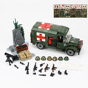 WW2 Military Soldiers US Army Soldiers Figures Building Blocks Wounded soldier Ambulance Weapon Bricks Parts Building Blocks Toy (6doll-262pcs)