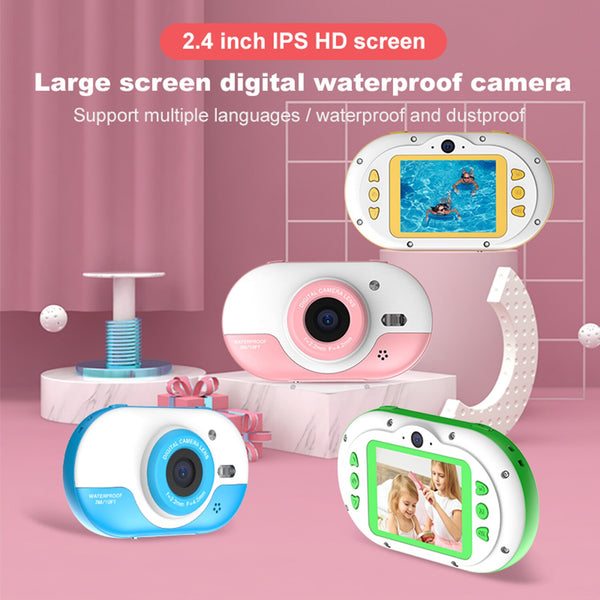 8MP Children Digital Camera Kids Waterproof Camera with Front and Rear Dual Cameras 2.4 Inch IPS HD Screen One-click Photo/Video